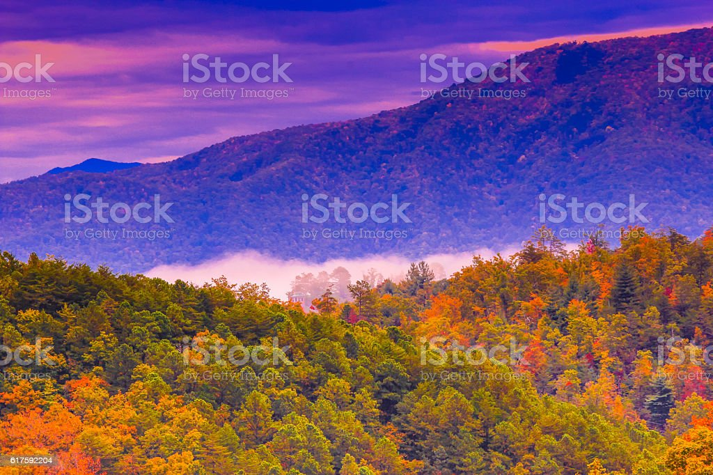 Fall colors in Great Smoky Mountains stock photo