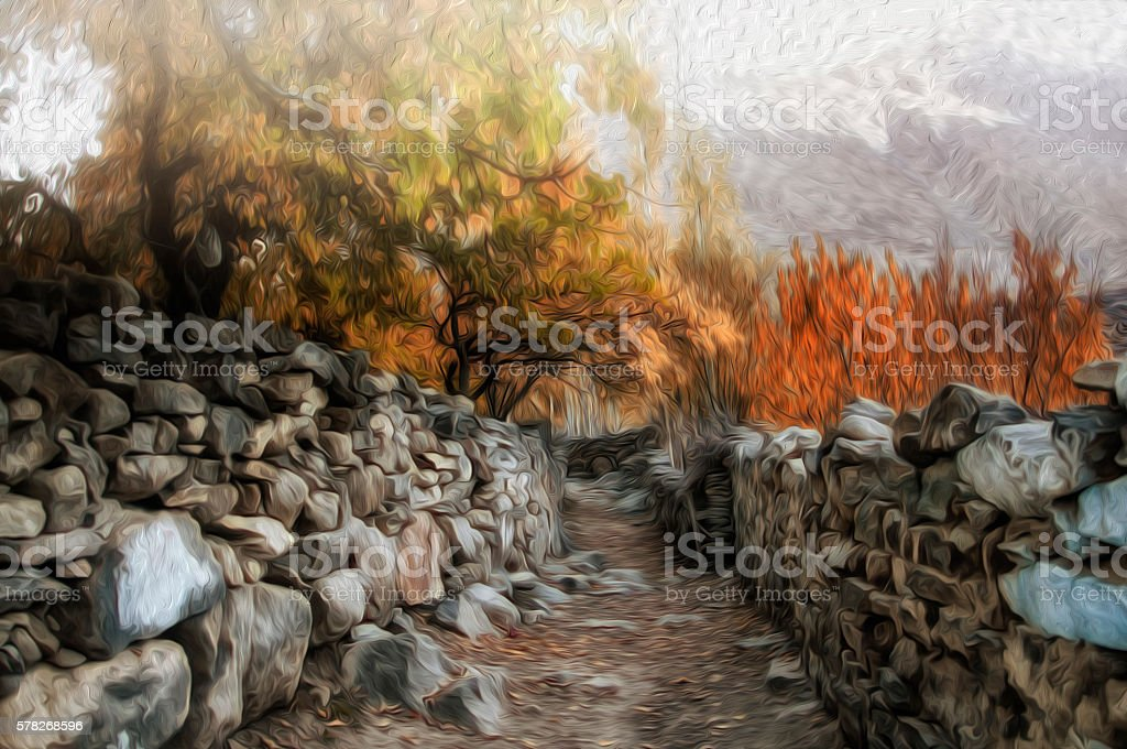 Fall Colors in Oil Paint Effect stock photo