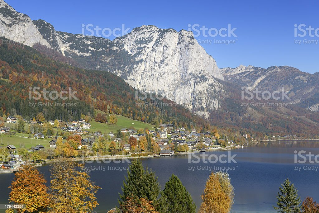 Fall Colors, Lake Grundlsee, Austria royalty-free stock photo