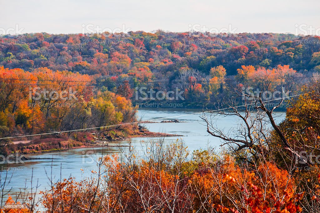 Fall Colors of the Missouri River stock photo