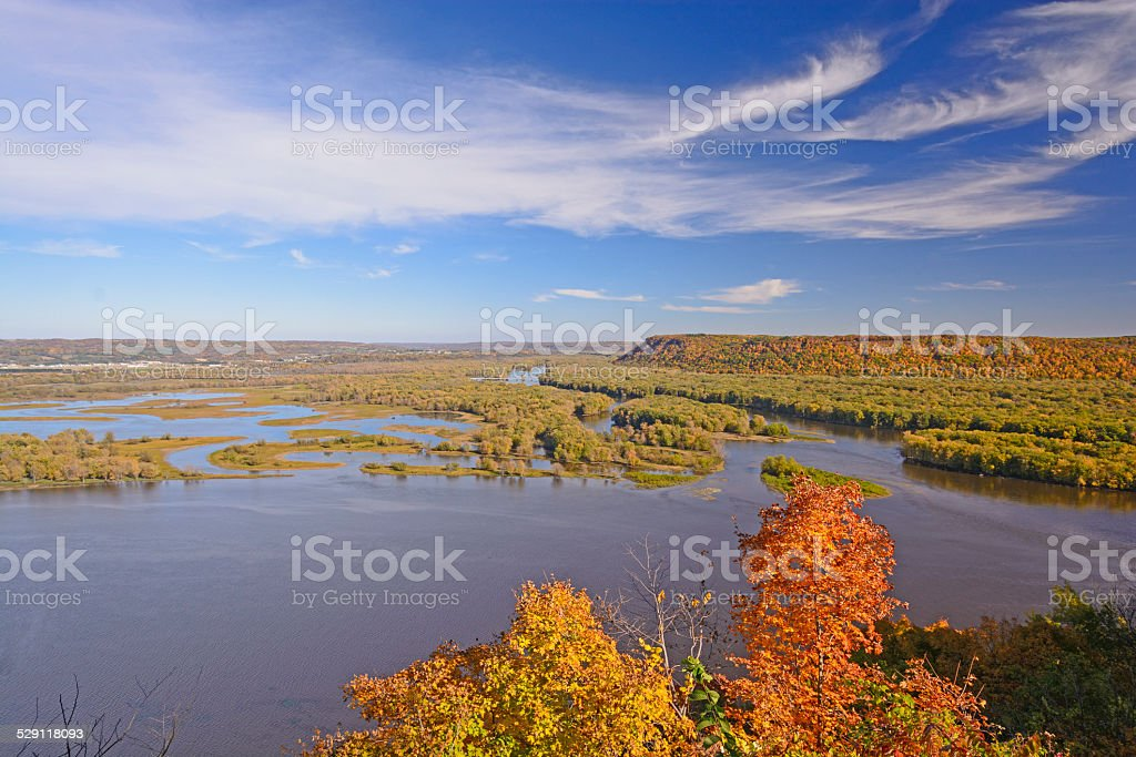 Fall Colors on a MIdwest River stock photo