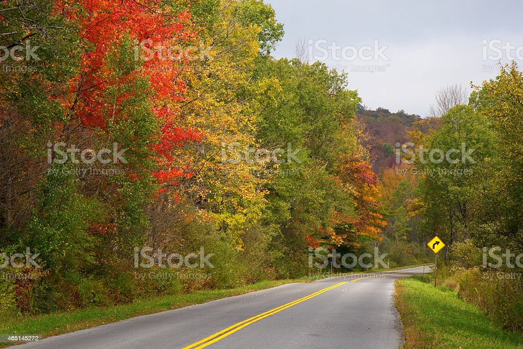Fall colors on a winding road in the Adirondacks stock photo