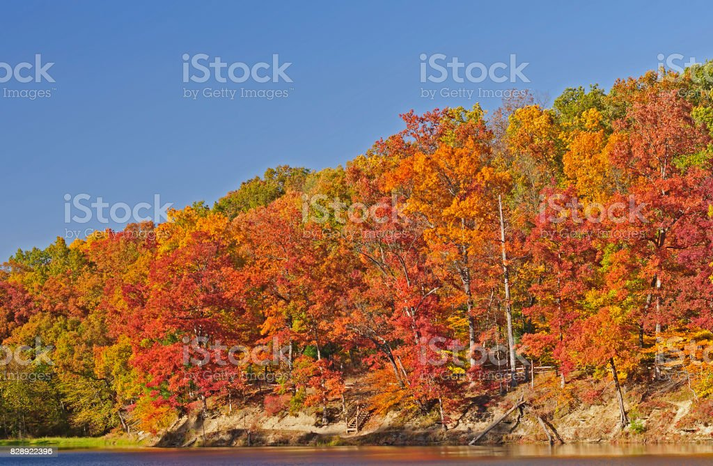 Fall Colors on Strahl Lake stock photo