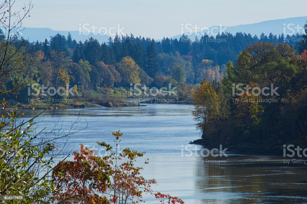 Fall Colors on the River stock photo