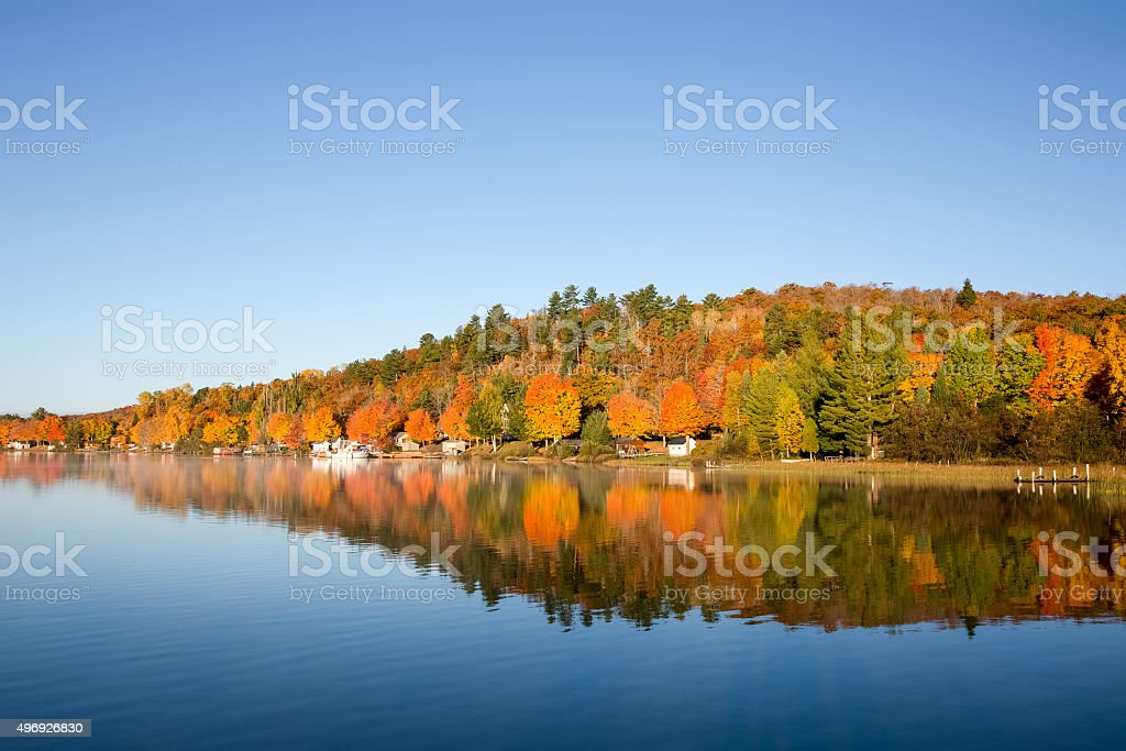 Fall Colors Reflected on a Calm Lake stock photo