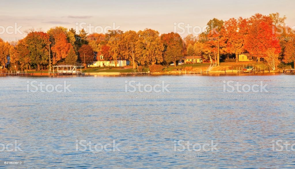 Fall Colors South Detroit River stock photo
