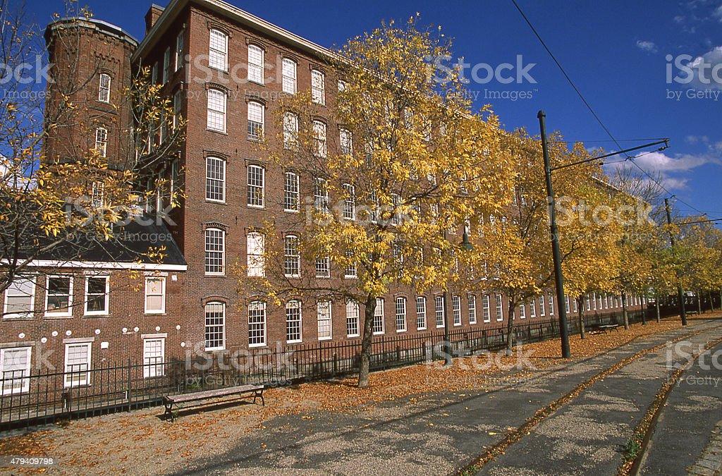Fall colors Street Car Line National Historical Park Lowell Massachusetts stock photo
