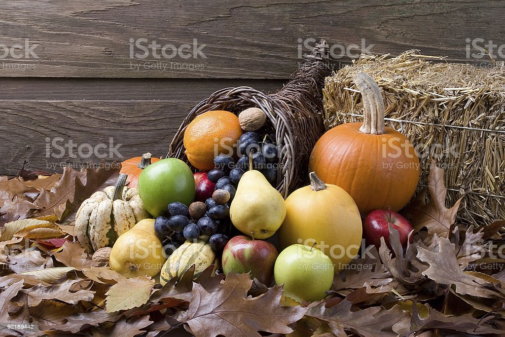 Fall cornucopia of fruits and vegetables royalty-free stock photo