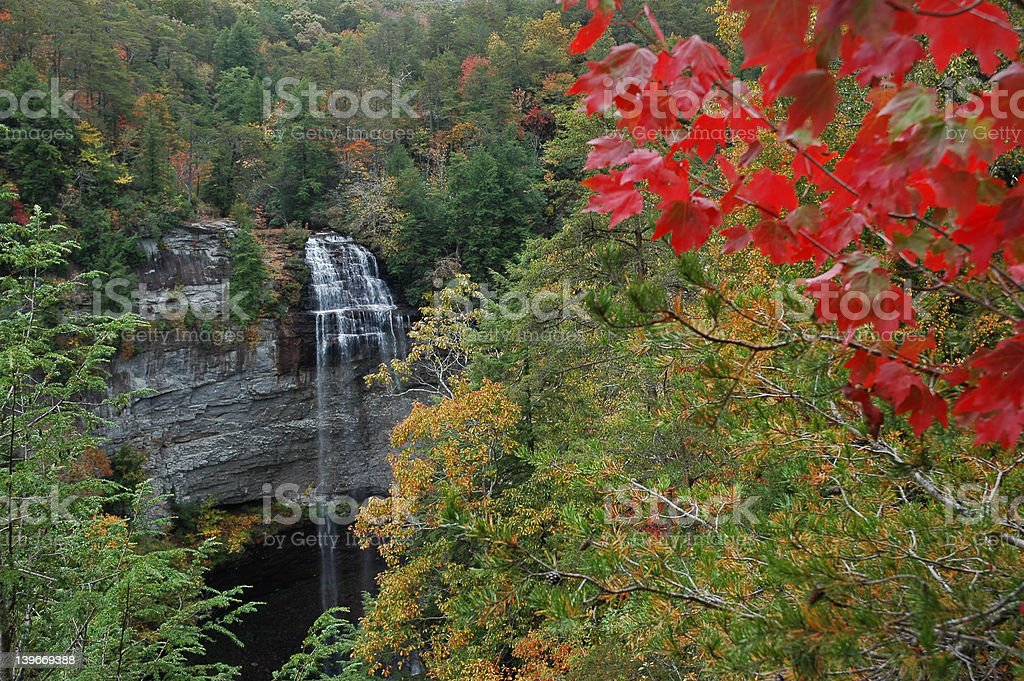Fall Creek Falls from elevation stock photo