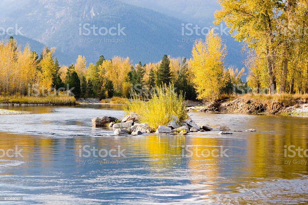 Fall day on the Bitterroot River royalty-free stock photo