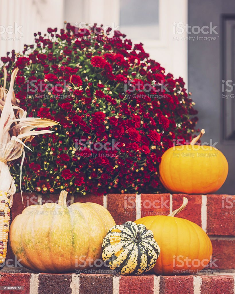 Fall Decor on Front Stoop stock photo