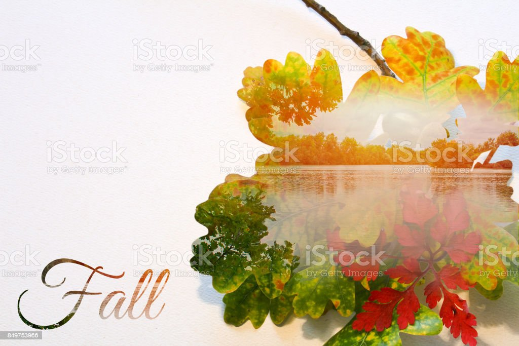 Fall double exposure in colorful leaves and sunset on pond with text stock photo