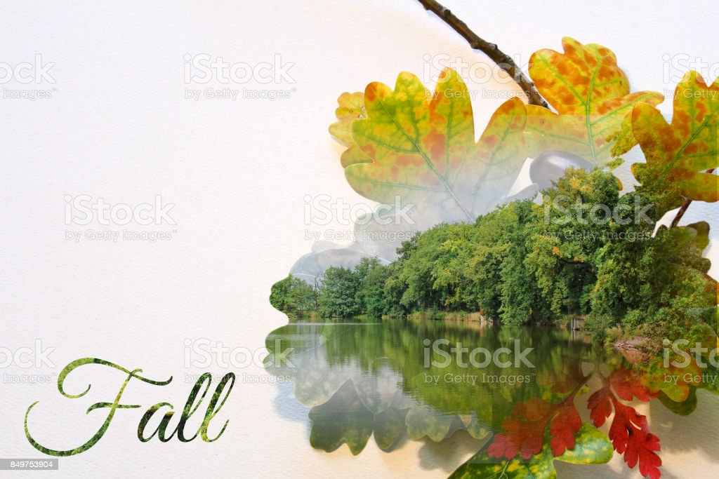 Fall double exposure in leaf and landscape with pond stock photo