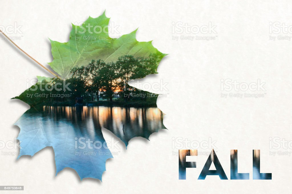 Fall double exposure in leaf and landscape with text stock photo