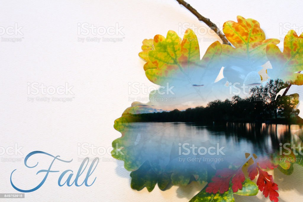 Fall double exposure in leaf and long exposure landscape with pond stock photo