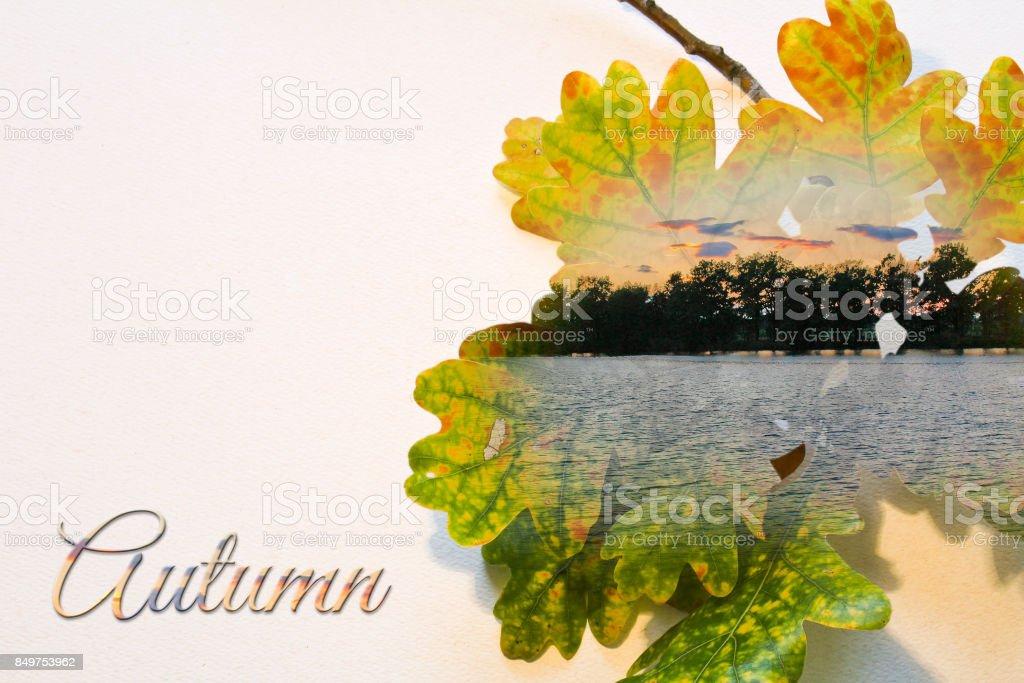 Fall double exposure in leaf and sunset on pond with text stock photo