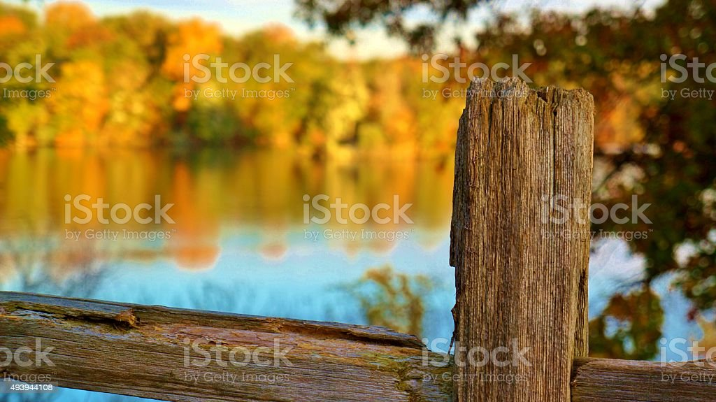 Fall Fence Post stock photo