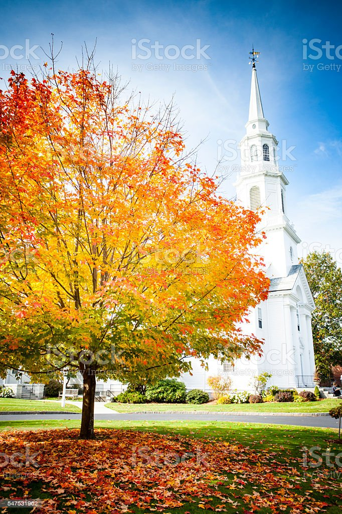 Fall Foliage and Church in New England stock photo