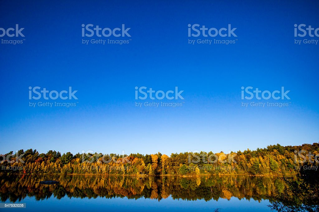 Fall Foliage and Lake in New England stock photo