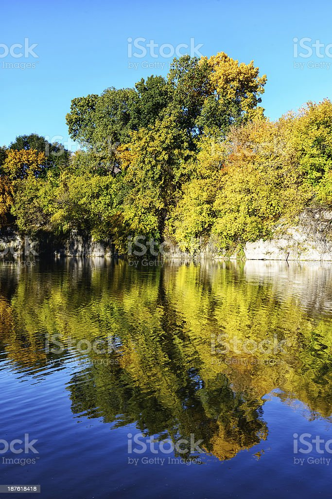Fall foliage at Stearns Quarry, Chicago stock photo