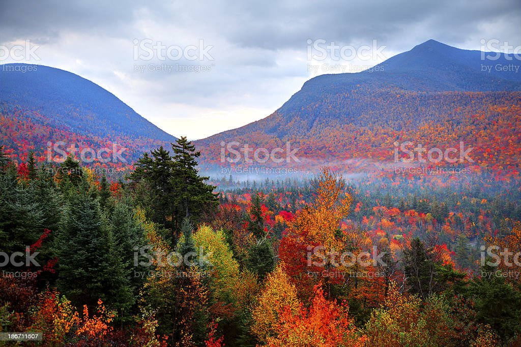 Fall Foliage in the White Mountains of New Hampshire stock photo