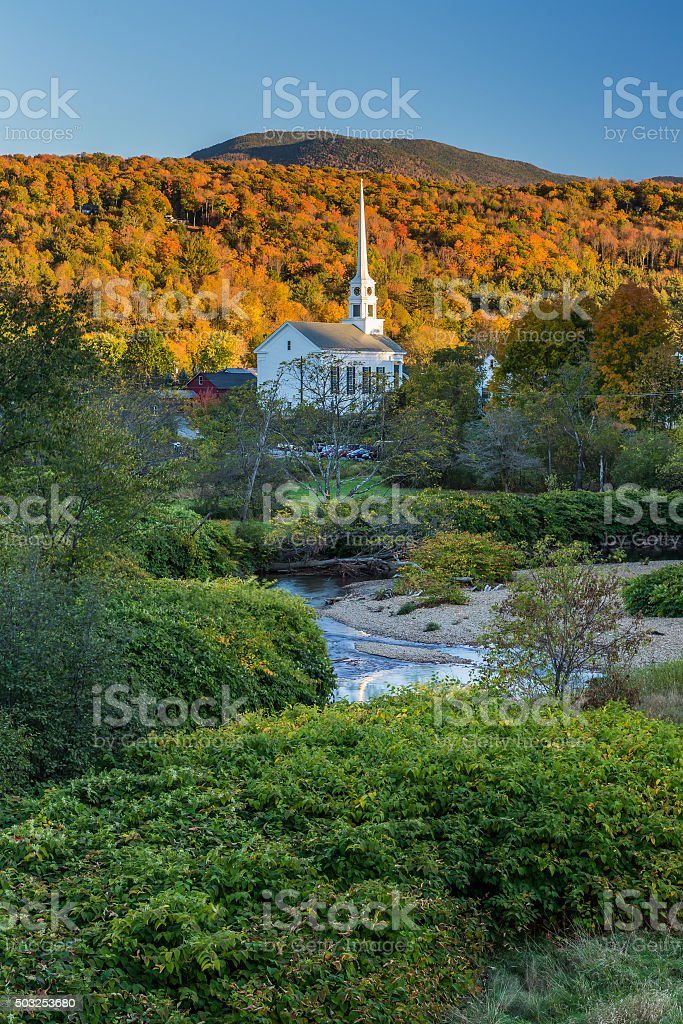 Fall Foliage landscape and Church in Stowe, Vermont stock photo