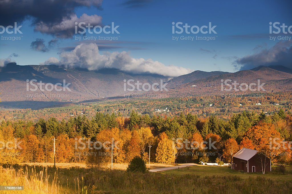 Fall foliage on Mt. Mansfield in Stowe, Vermont, USA stock photo