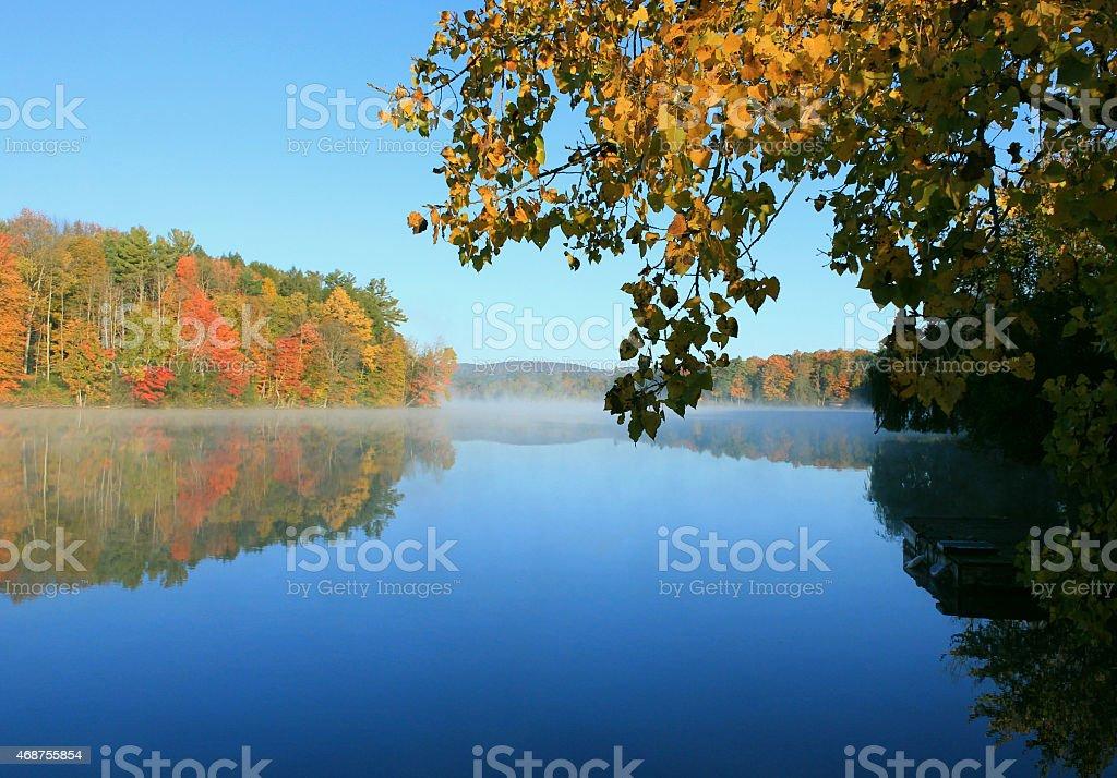Fall foliage reflected on lake stock photo