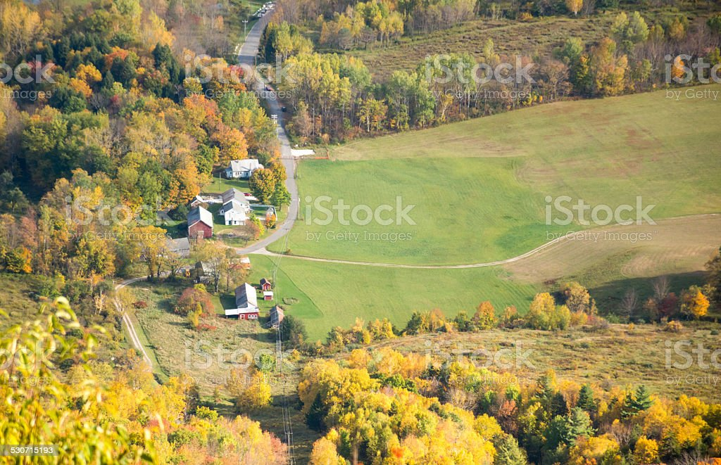 Fall foliage view from Mount Greylock in Berkshires stock photo
