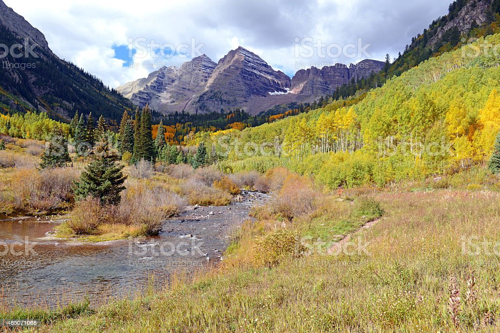 Fall Foliage with Aspen Trees, Maroon Bells, Colorado Rocky Mountains stock photo