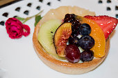 Fall Fruit Tart Dessert with Fig Berry and Cream