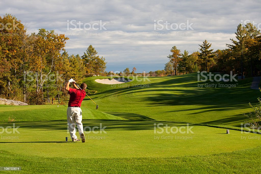 Fall Golf Scenic With Male Caucasian Golfer stock photo