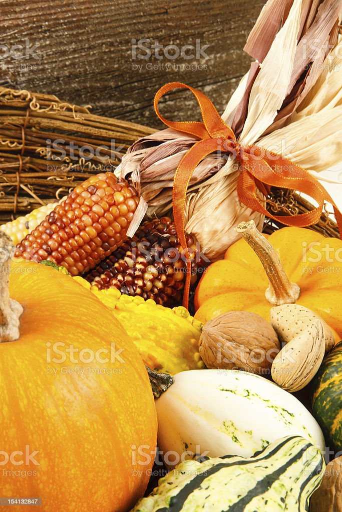 Fall Harvest Decoration With Pumpkins, Gourds And Indian Corn stock photo