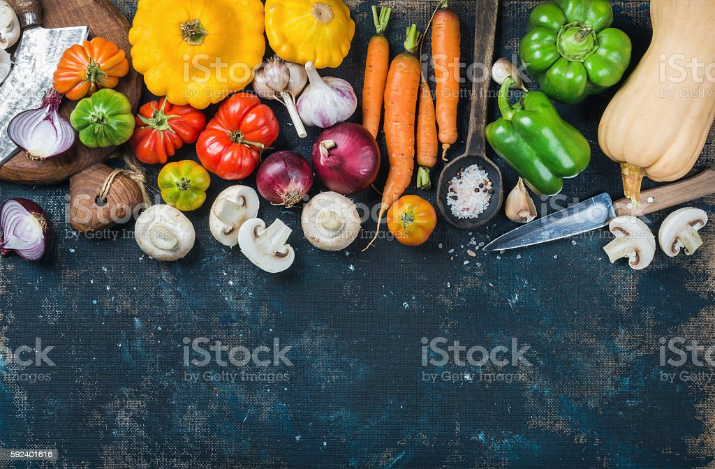 Fall harvest vegetable ingredients for healthy cooking, copy space stock photo