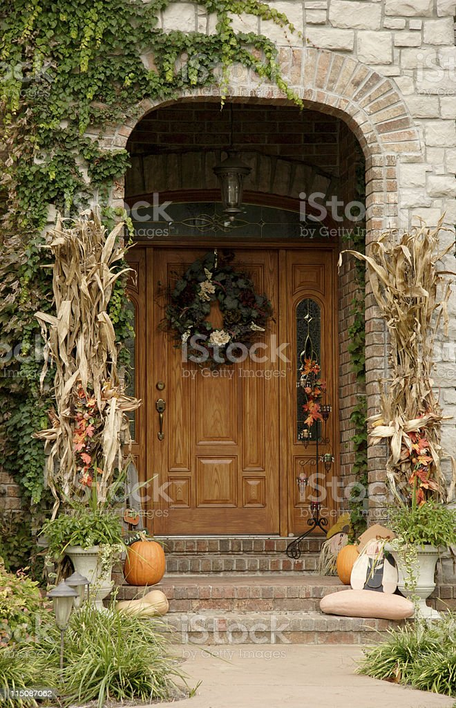 fall home entry arch royalty-free stock photo
