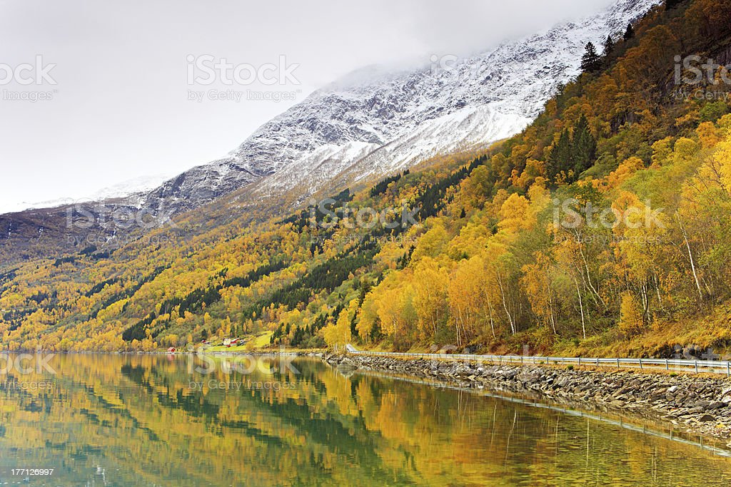 Fall in Norwegian fjords stock photo