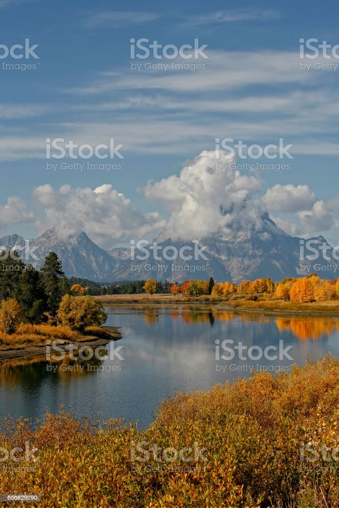 Fall in the Tetons at Oxbow Bend stock photo