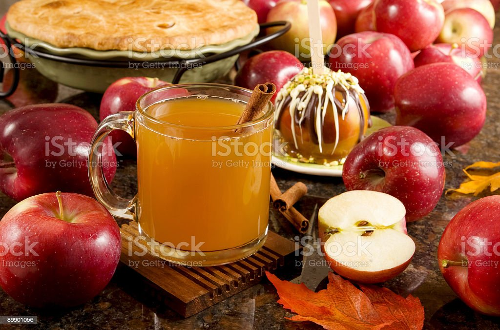 Fall is here Delicious hot, spiced apple cider  stock photo