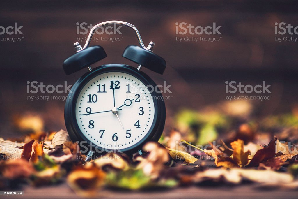 Fall is time to turn back clocks. Daylight Savings Time stock photo