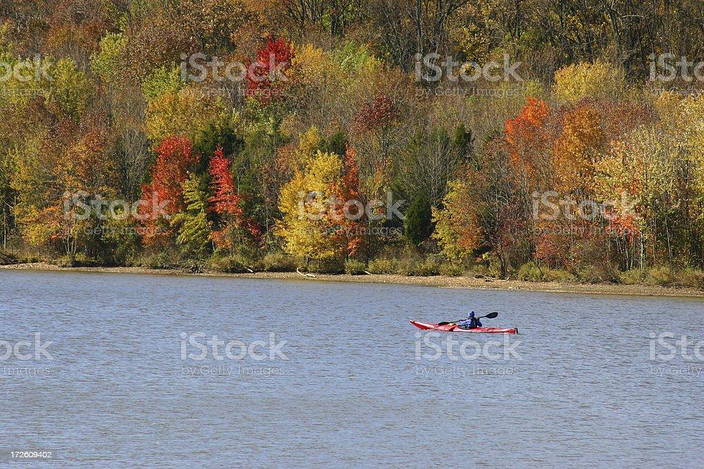Fall Kayaker royalty-free stock photo