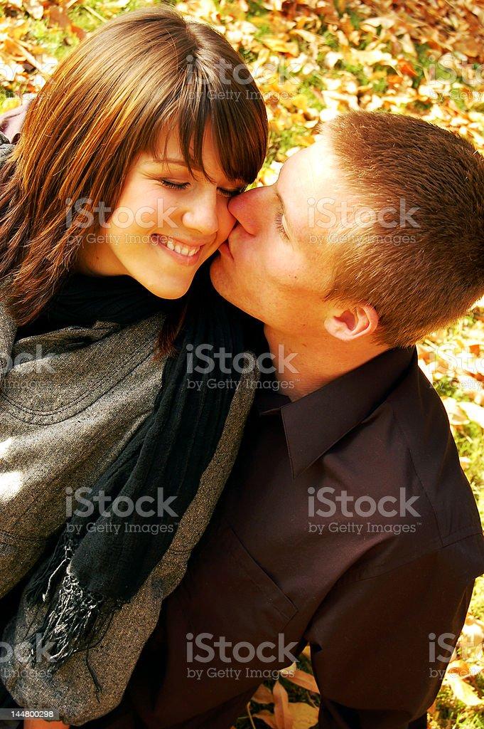 Fall Kisses royalty-free stock photo
