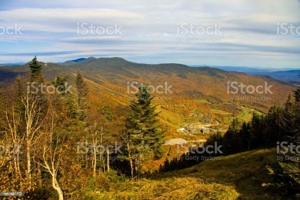 Fall landscape from Mt Mansfield stock photo