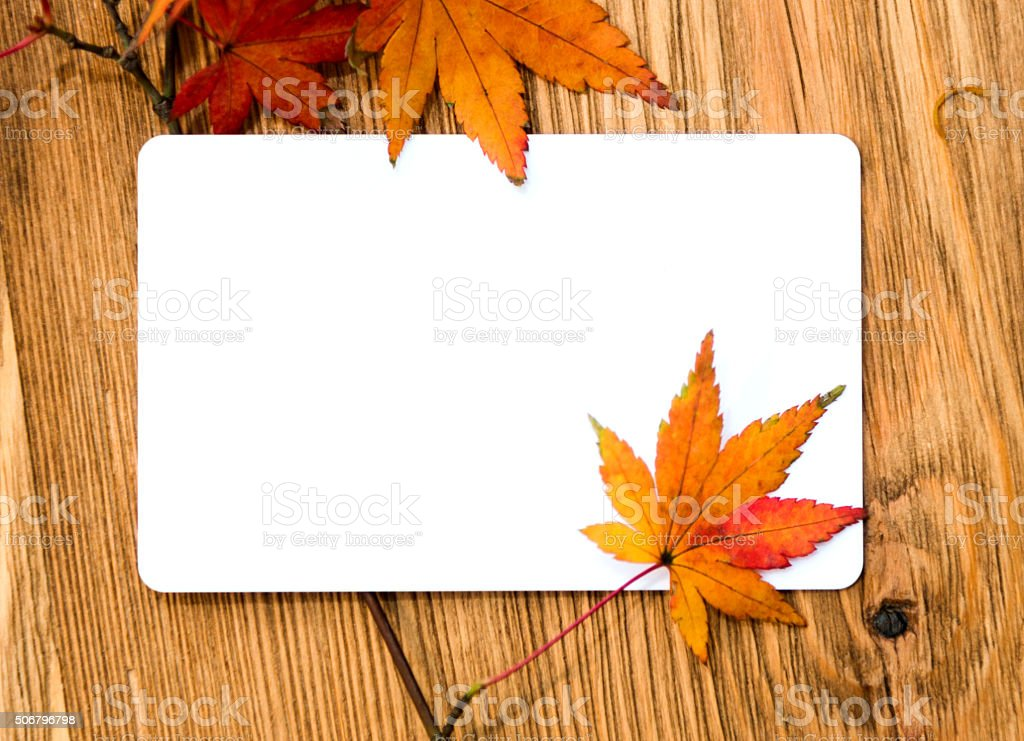 Fall Leaves and white card on table stock photo
