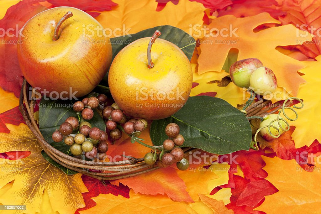 Fall Leaves, Apple and Cranberry Arrangement, Autumn Background royalty-free stock photo