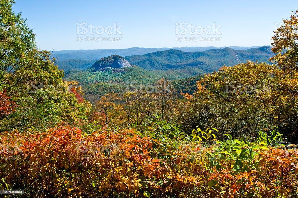 Fall Looking Glass Rock Blue Ridge Parkway, NC stock photo