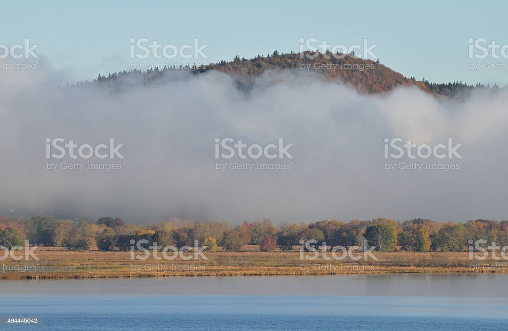 Fall Misty Morning on the River stock photo