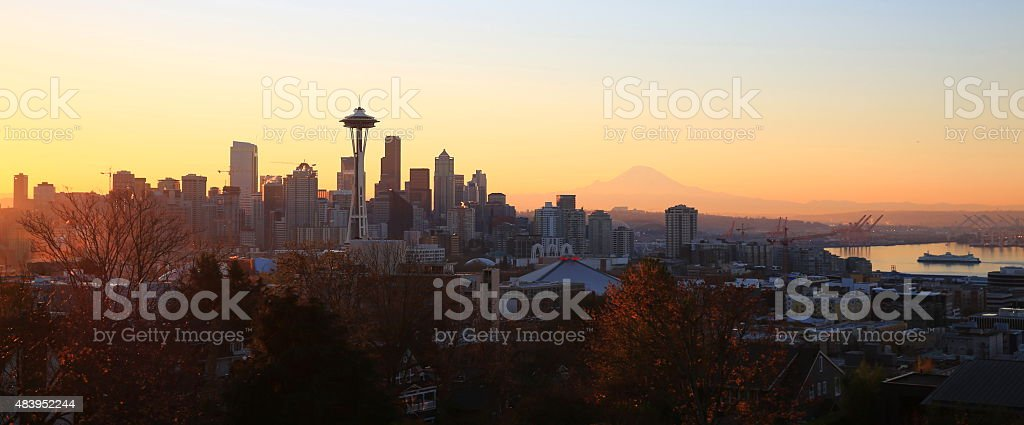 Fall Morning in Seattle stock photo