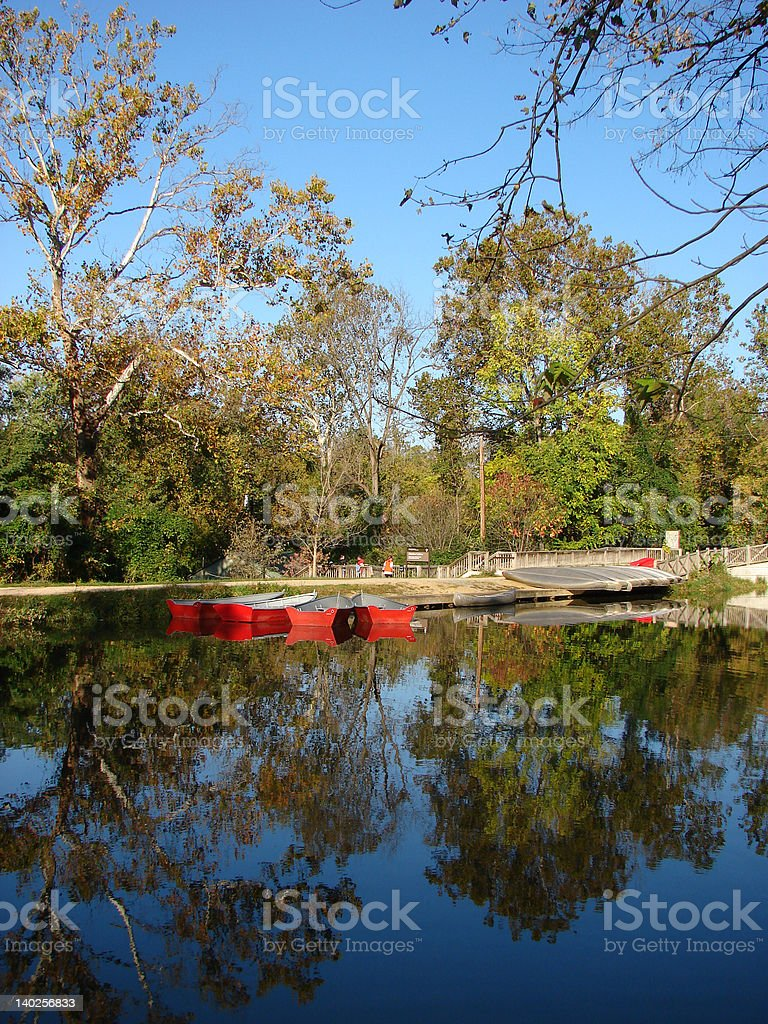 Fall morning on the river bay royalty-free stock photo