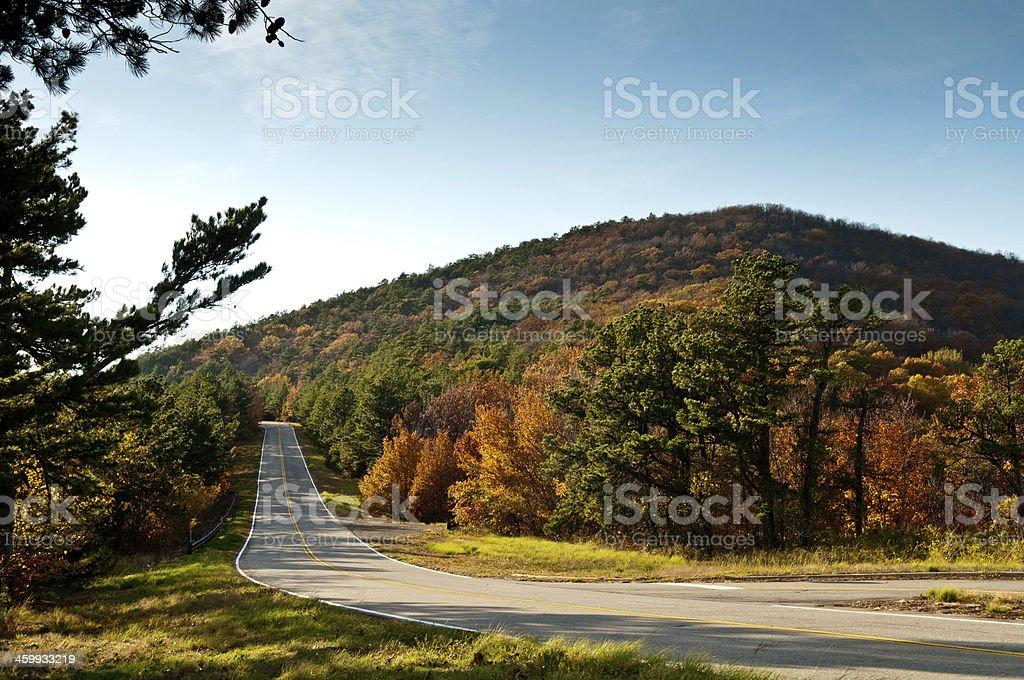 Fall Mountain Road Scene stock photo