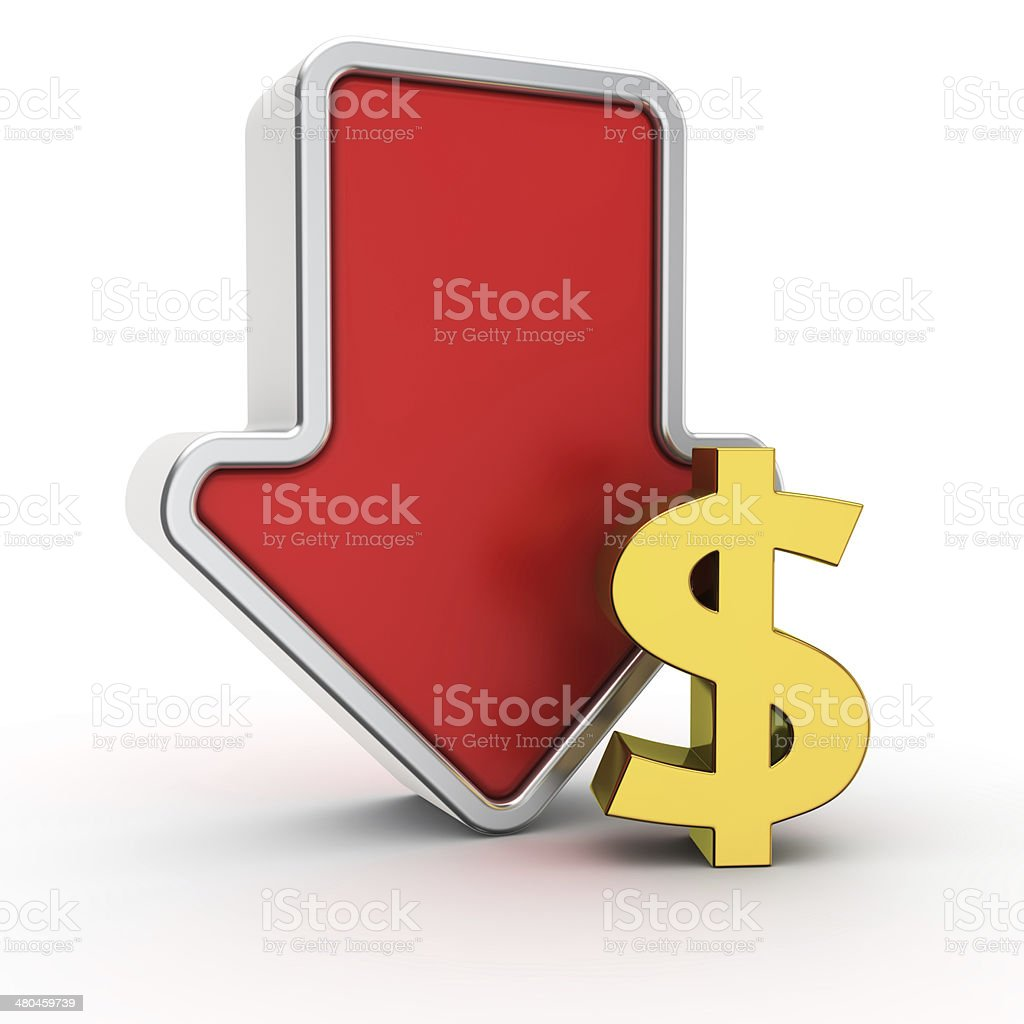 Fall of dollar rate stock photo
